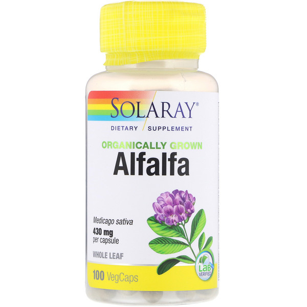 Solaray, Organically Grown Alfalfa, 430 mg, 100 VegCaps