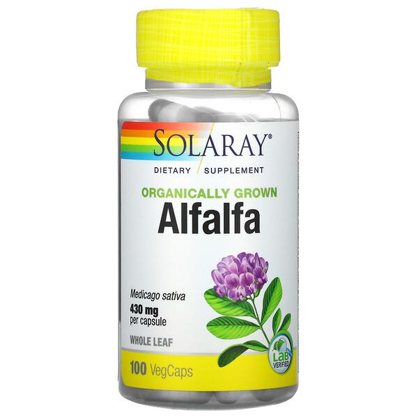 Solaray, Organically Grown Alfalfa, 430 mg, 100 VegCaps (Discontinued Item)