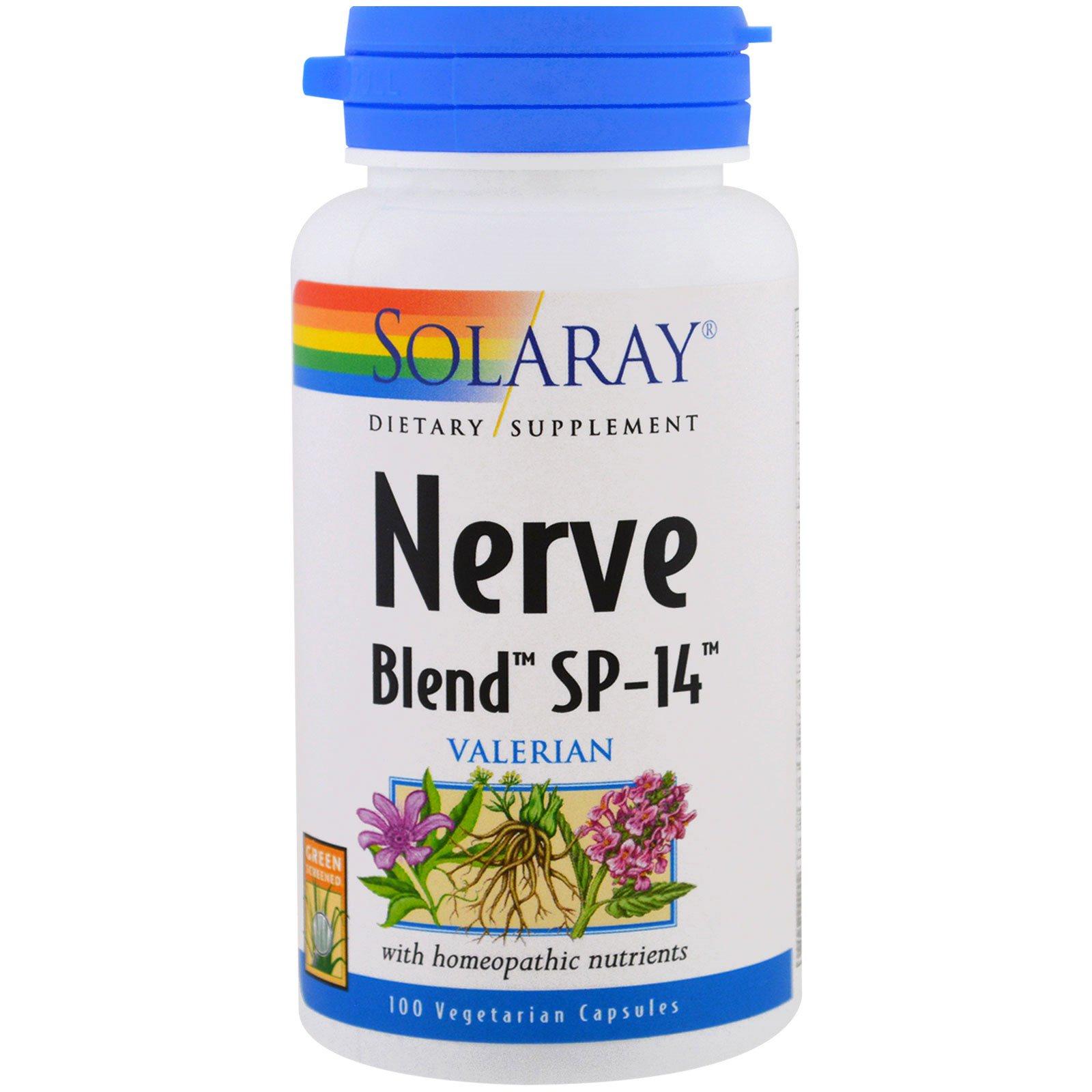 Solaray, Смесь для нервной системы SP-14, 100 капсул в растительной оболочке