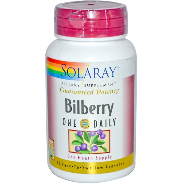 Solaray, Bilberry, One Daily, 30 Easy-To-Swallow Capsules (Discontinued Item)