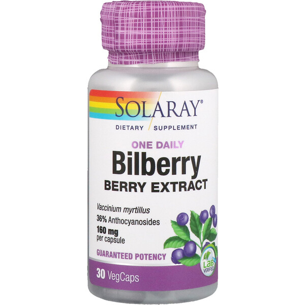 Solaray, One Daily Bilberry Berry Extract, 160 mg, 30 VegCaps