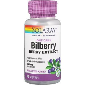 Соларай, One Daily Bilberry Berry Extract, 160 mg, 30 VegCaps отзывы