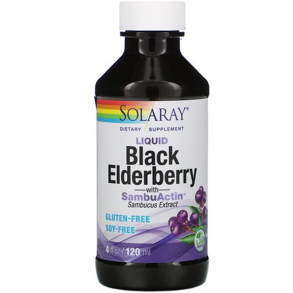 Liquid Black Elderberry Extract with SambuActin, 4 oz (120 ml)