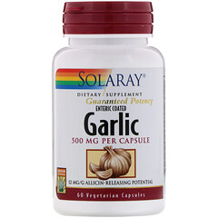 Solaray, Enteric Coated Garlic, 500 mg, 60 Vegetarian Capsules