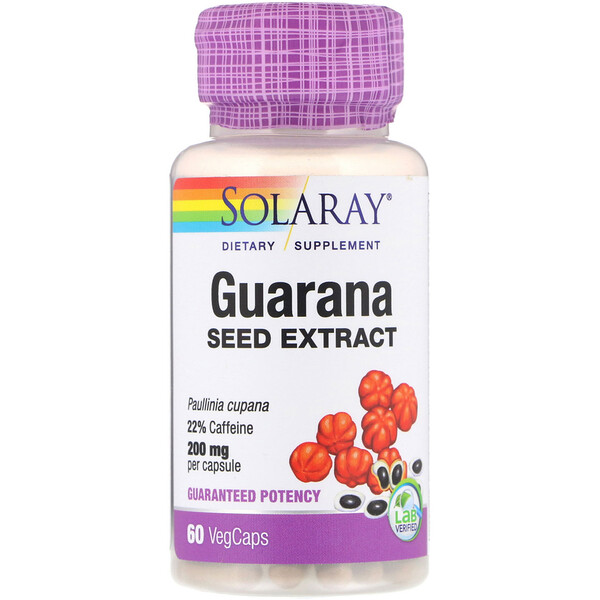 Solaray, Extracto de semilla de guaraná, 200 mg, 60 cápsulas vegetarianas