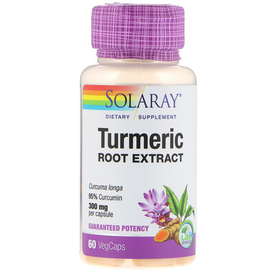 Купить Solaray Экстракт из корня куркумы, 300 мг, 60 вегетарианских капсул