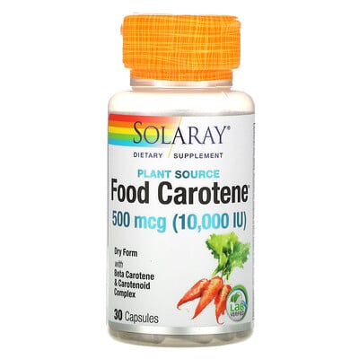 Solaray пищевой каротин с бета-каротином и каратиноидным комплексом, 500мкг (10000МЕ), 30капсул