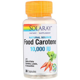 Solaray, Food Carotene, fuente natural, 10 000 UI, 30 cápsulas