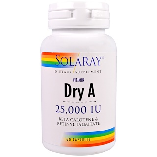 Solaray, فيتامين أ جاف، 25.000 وحدة دولية، 60 كبسولة