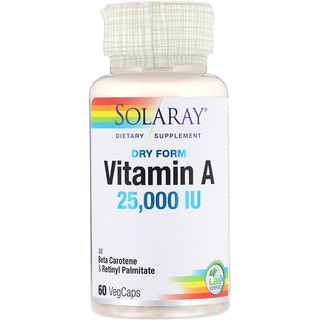 Solaray, Dry Form Vitamin A, 25,000 IU, 60 VegCaps