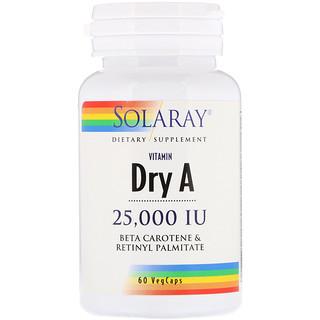 Solaray, Dry Vitamin A, 25,000 IU, 60 VegCaps