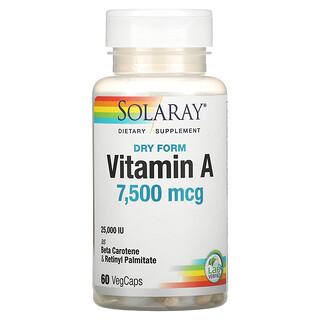 Solaray, Dry Form Vitamin A, 7,500 mcg, 60 VegCaps
