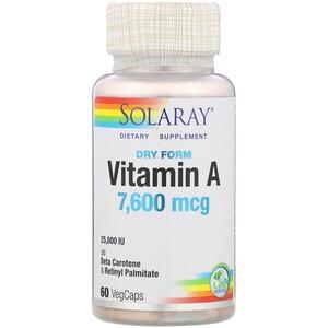 Соларай, Dry Form Vitamin A, 7,600 mcg, 60 VegCaps отзывы