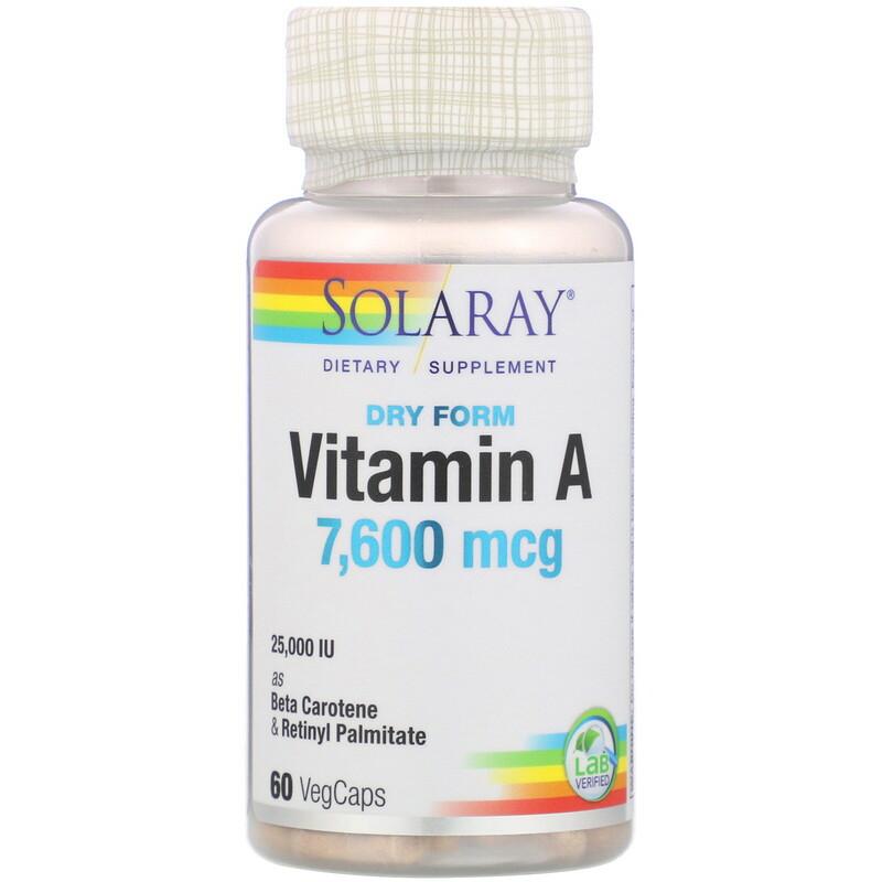 Dry Form Vitamin A, 7,600 mcg, 60 VegCaps