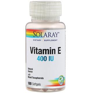 Solaray, Vitamin E, 400 IU, 100 Softgels