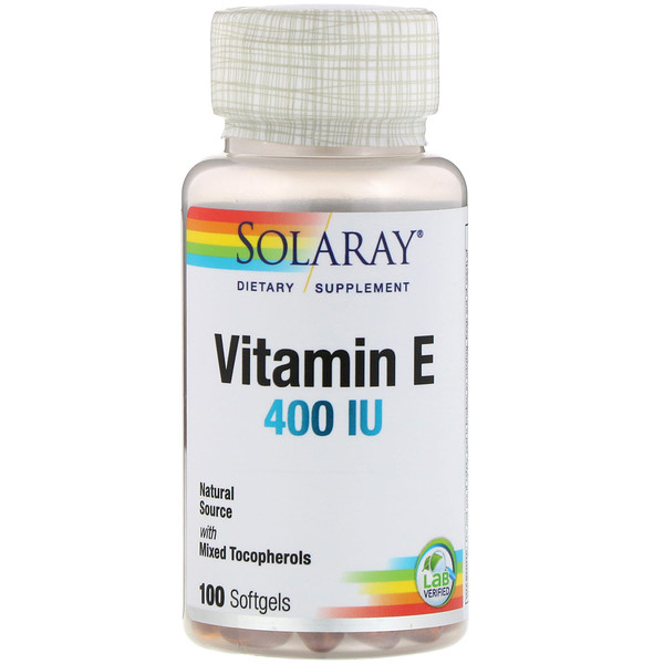Solaray, Vitamin E , 400 IU, 100 Softgels