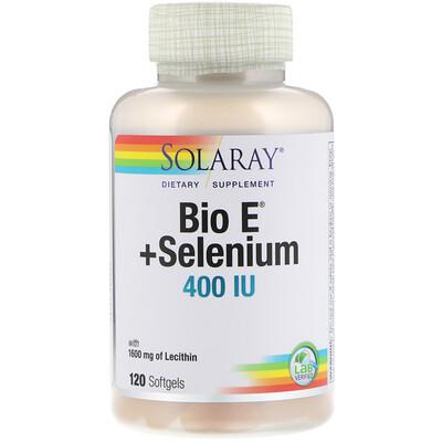 Купить Solaray Био E + селен, 400 МЕ, 120 мягких таблеток