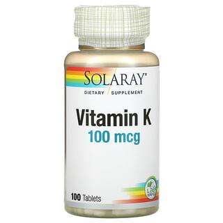 Solaray, Vitamin K, 100 mcg, 100 Tablets
