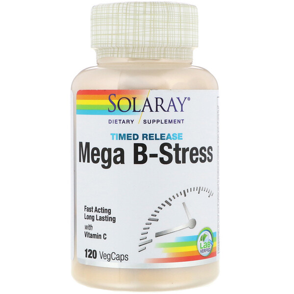 Solaray, Mega B-Stress، إفراز موقوت، 120 كبسولة نباتية
