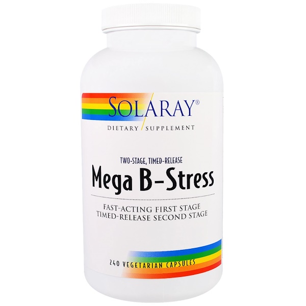 Solaray, Mega B-Stress, Two-Stage, Timed-Release, 240 Vegetarian Capsules