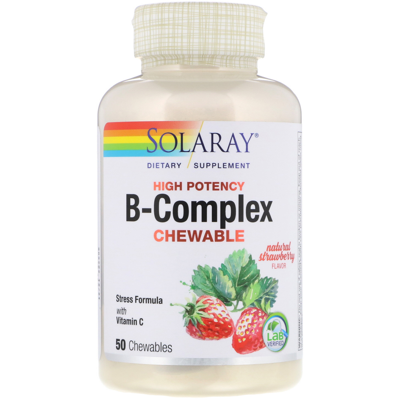 Solaray, High Potency B-Complex Chewable, Natural Strawberry
