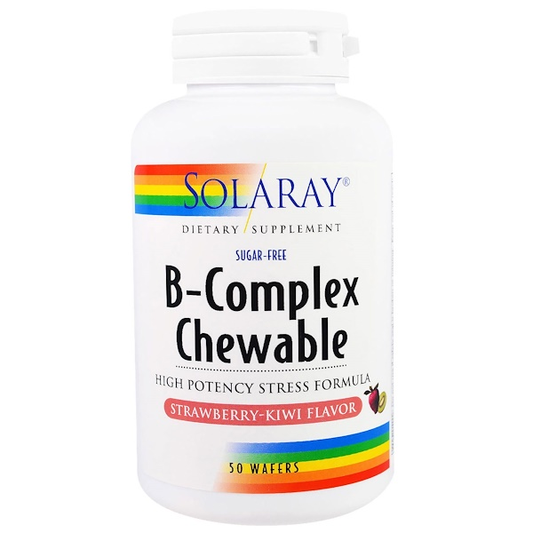 Solaray, 維生素B咀嚼片,草莓,獼猴桃味,50片