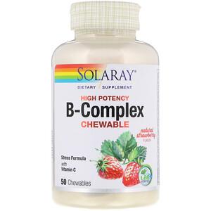 Соларай, High Potency B-Complex Chewable, Natural Strawberry Flavor, 50 Chewables отзывы