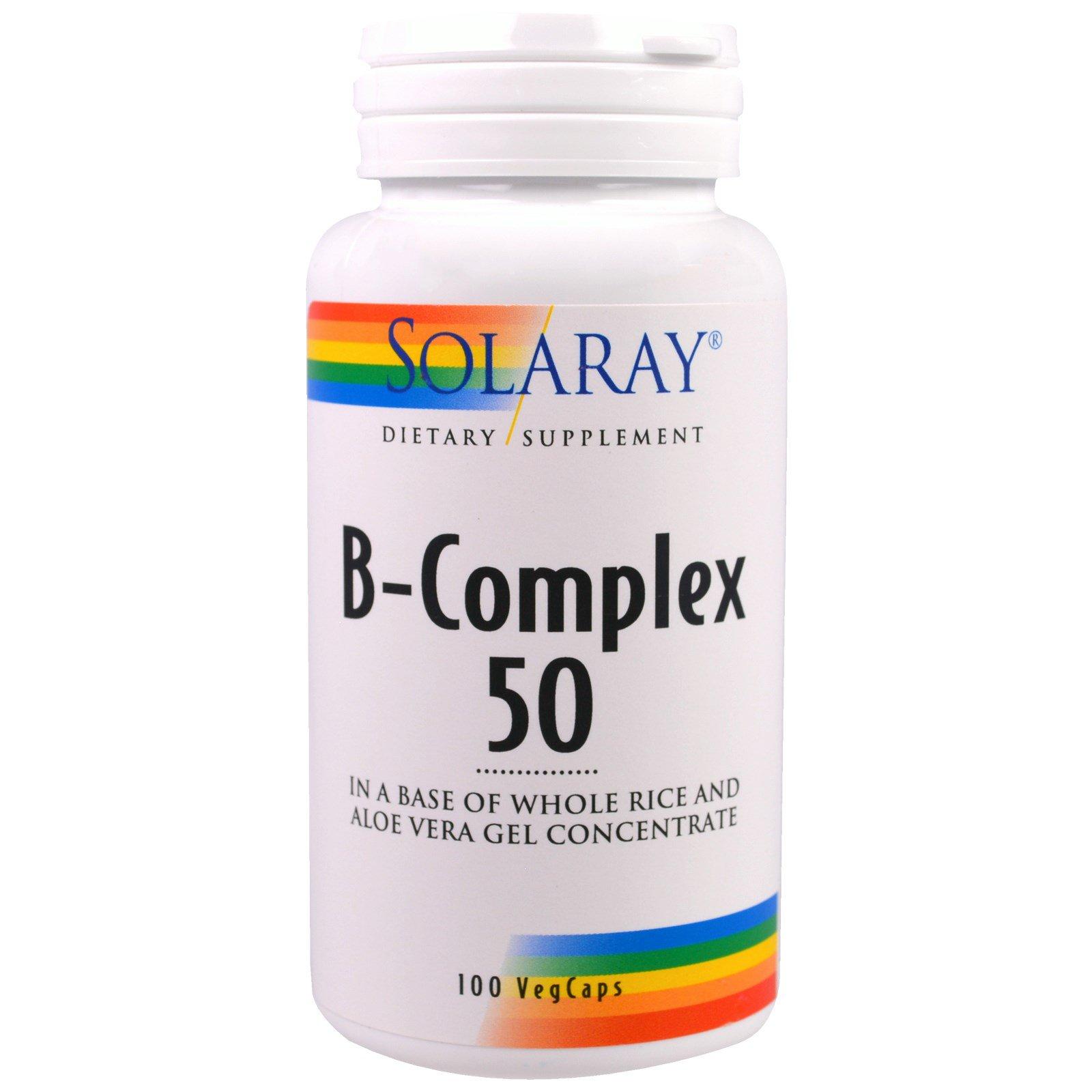 Solaray, B-комплекс 50, 100 вегетарианских капсул