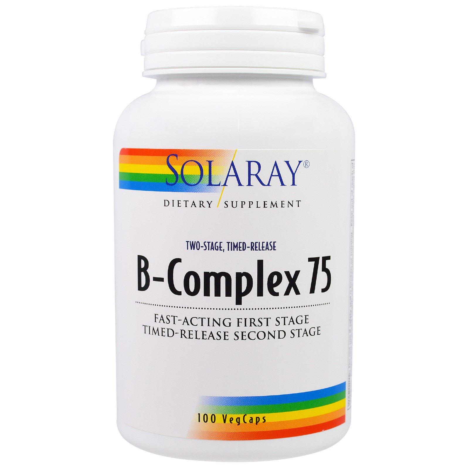 Solaray, B-комплекс 75,  двухэтапный, пролонгированное время, 100 вегетарианских капсул
