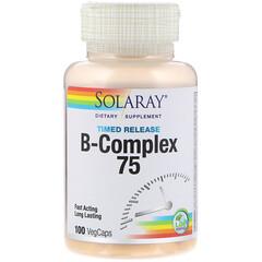 Solaray, B-コンプレックス 75、2段階、タイムリリース、100ベジカプセル