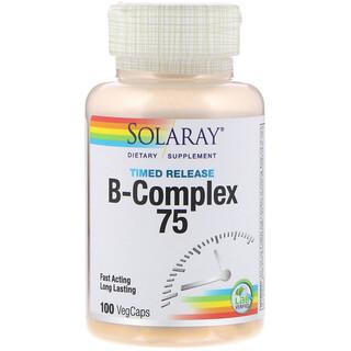 Solaray, B-Complex 75، مرحلتين، 100 كبسولة نباتية بطيئة الإطلاق