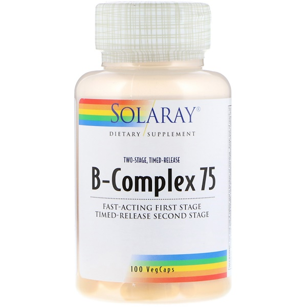 Solaray, B-Complex 75,兩個階段,定時釋放,100粒素食膠囊