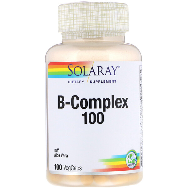 Solaray, B-Complex 100 with Aloe Vera, 100 VegCaps