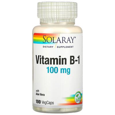 Solaray Vitamin B-1 with Aloe Vera, 100 mg, 100 VegCaps