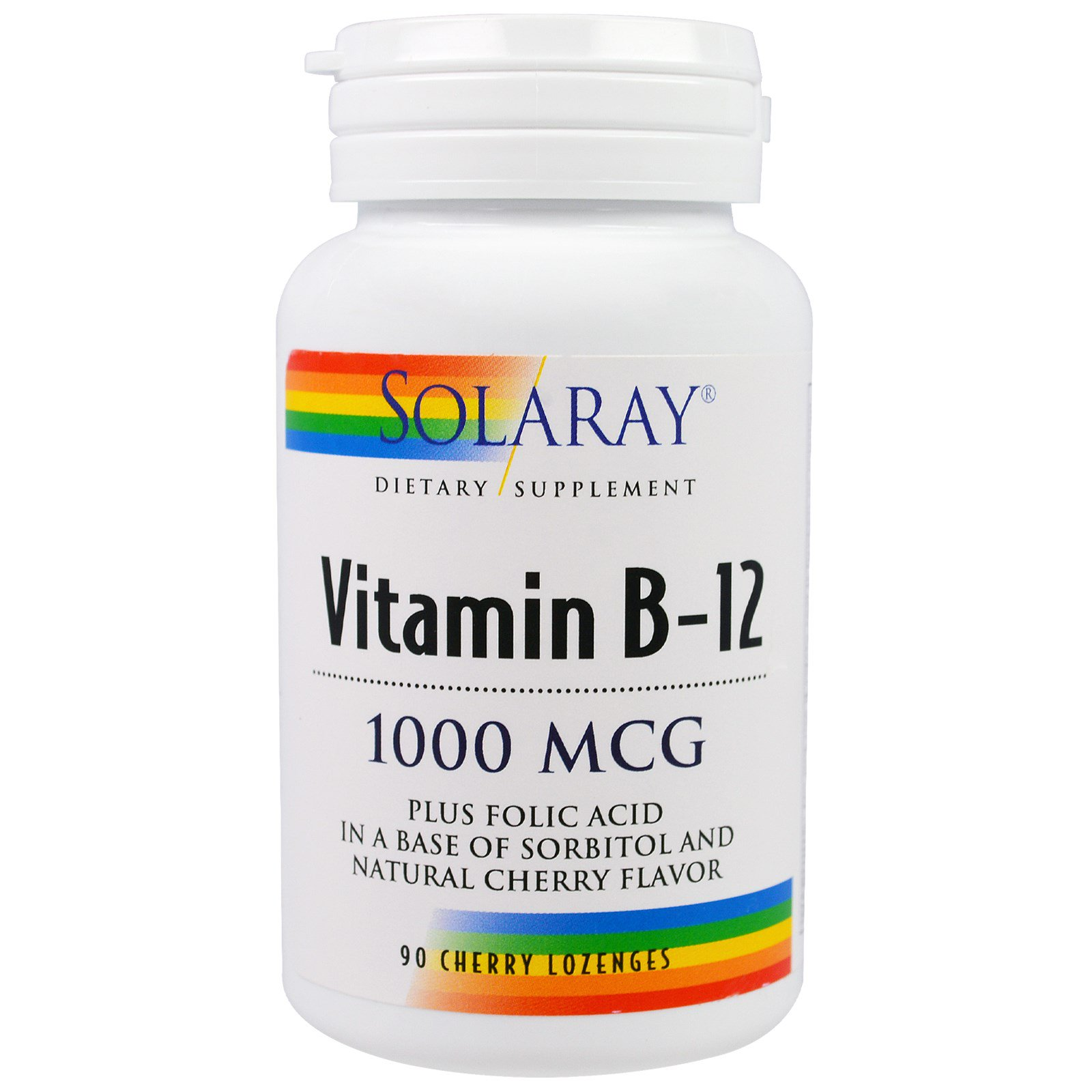 Solaray, Витамин В12, 1000 мкг, 90 вишневых пастилок