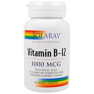 Solaray, Vitamin B-12, 1000 mcg, 90 Cherry Lozenges