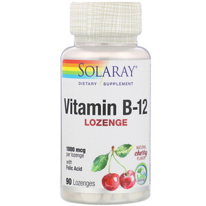 Соларай, Vitamin B-12, Natural Cherry Flavor, 1,000 mcg, 90 Lozenges отзывы покупателей