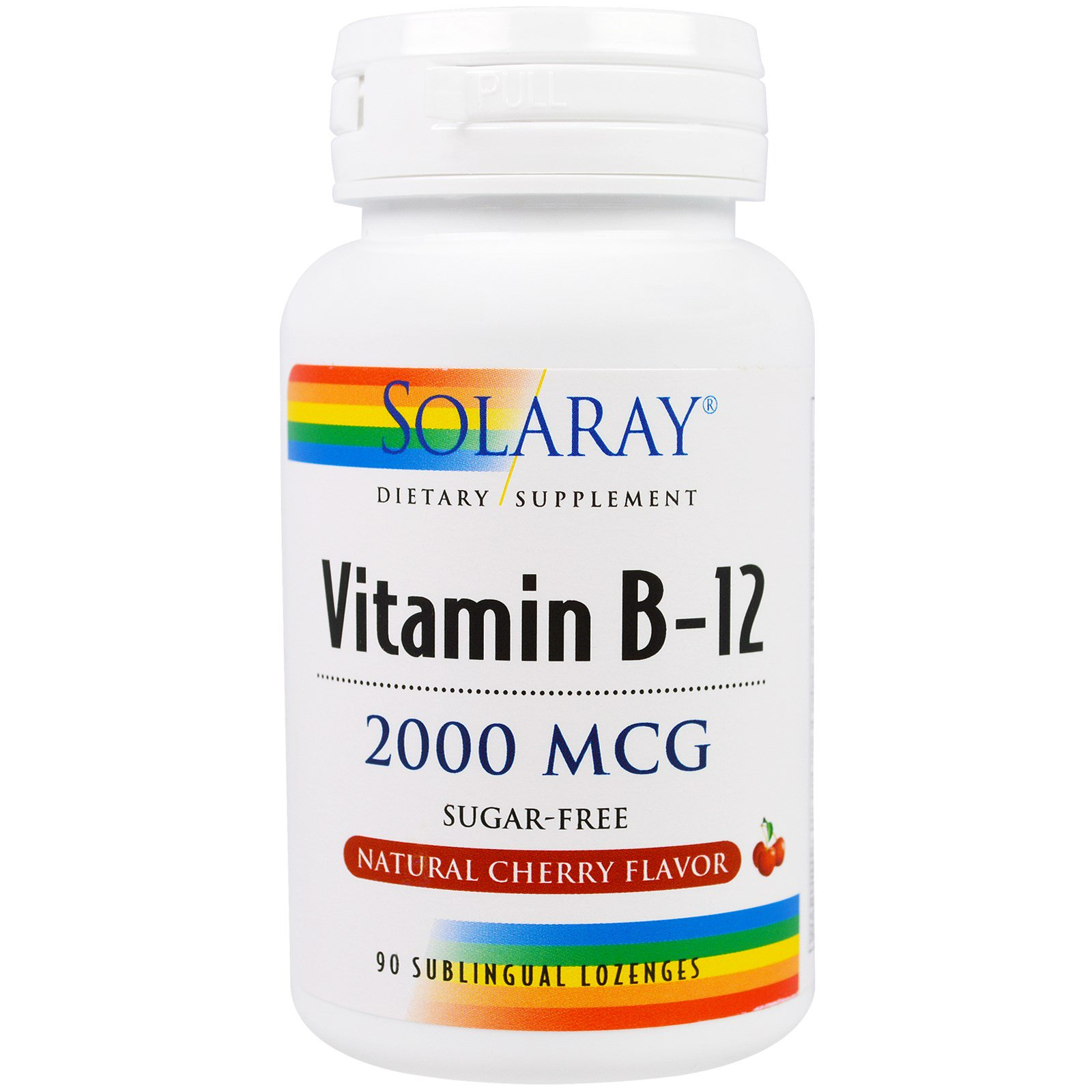 Solaray, Vitamin B-12, Natural Cherry Flavor, Sugar Free, 2000 mcg, 90 Sublingual LozengesOther