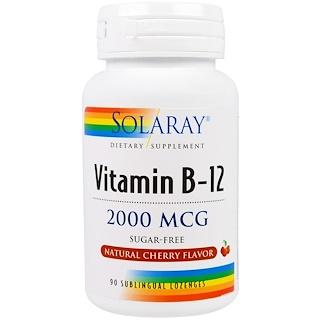 Solaray, Vitamin B-12, Natural Cherry Flavor, Sugar Free, 2000 mcg, 90 Sublingual Lozenges