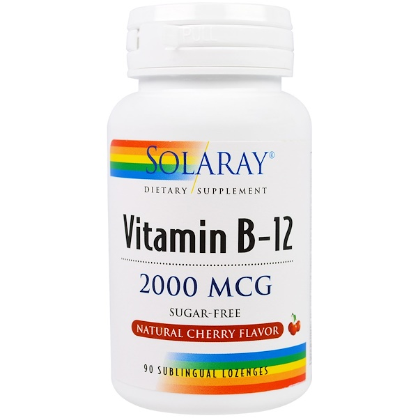 Solaray, Vitamin B-12, Natural Cherry Flavor, Sugar Free, 2000 mcg, 90 Sublingual Lozenges