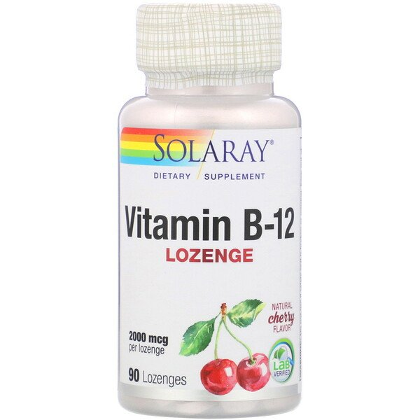 Solaray, Vitamin B-12, Natural Cherry Flavor, 2,000 mcg, 90 Lozenges