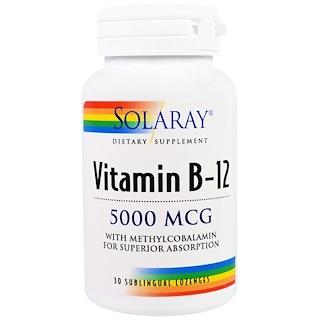 Solaray, Vitamin B-12, 5000 mcg, 30 Sublingual Lozenges