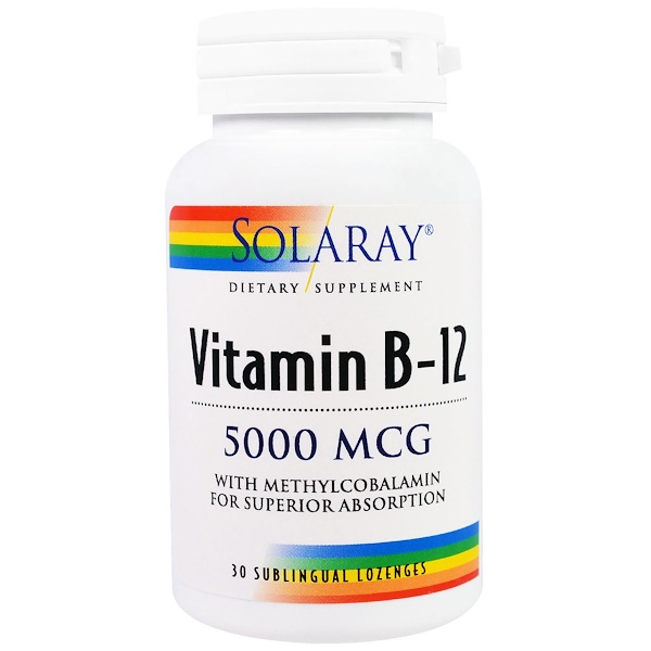 Solaray, Vitamin B-12, 5000 mcg, 30 Sublingual Lozenges