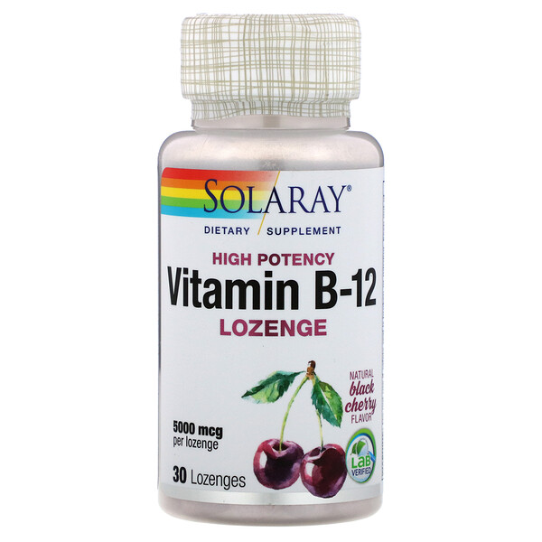 Solaray, Vitamin B-12, Natural Black Cherry, 5,000 mcg, 30 Lozenges