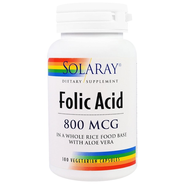 Solaray, Folic Acid, 800 mcg, 100 Veggie Caps