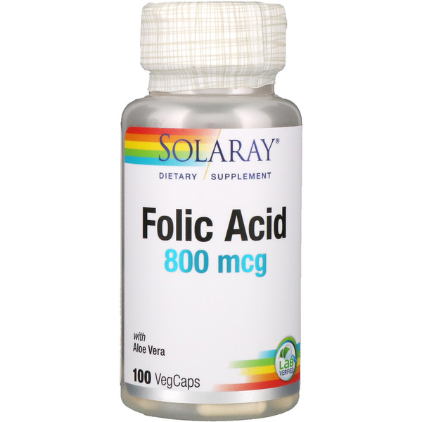 Solaray, Folic Acid, 800 mcg, 100 VegCaps