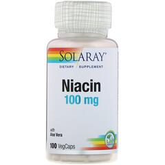 Solaray, Niacina, 100 mg, 100 Cápsulas Vegetarianas