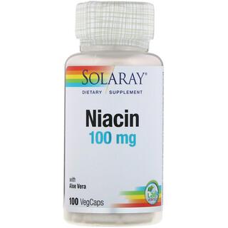 Solaray, Niacin, 100 mg, 100 VegCaps