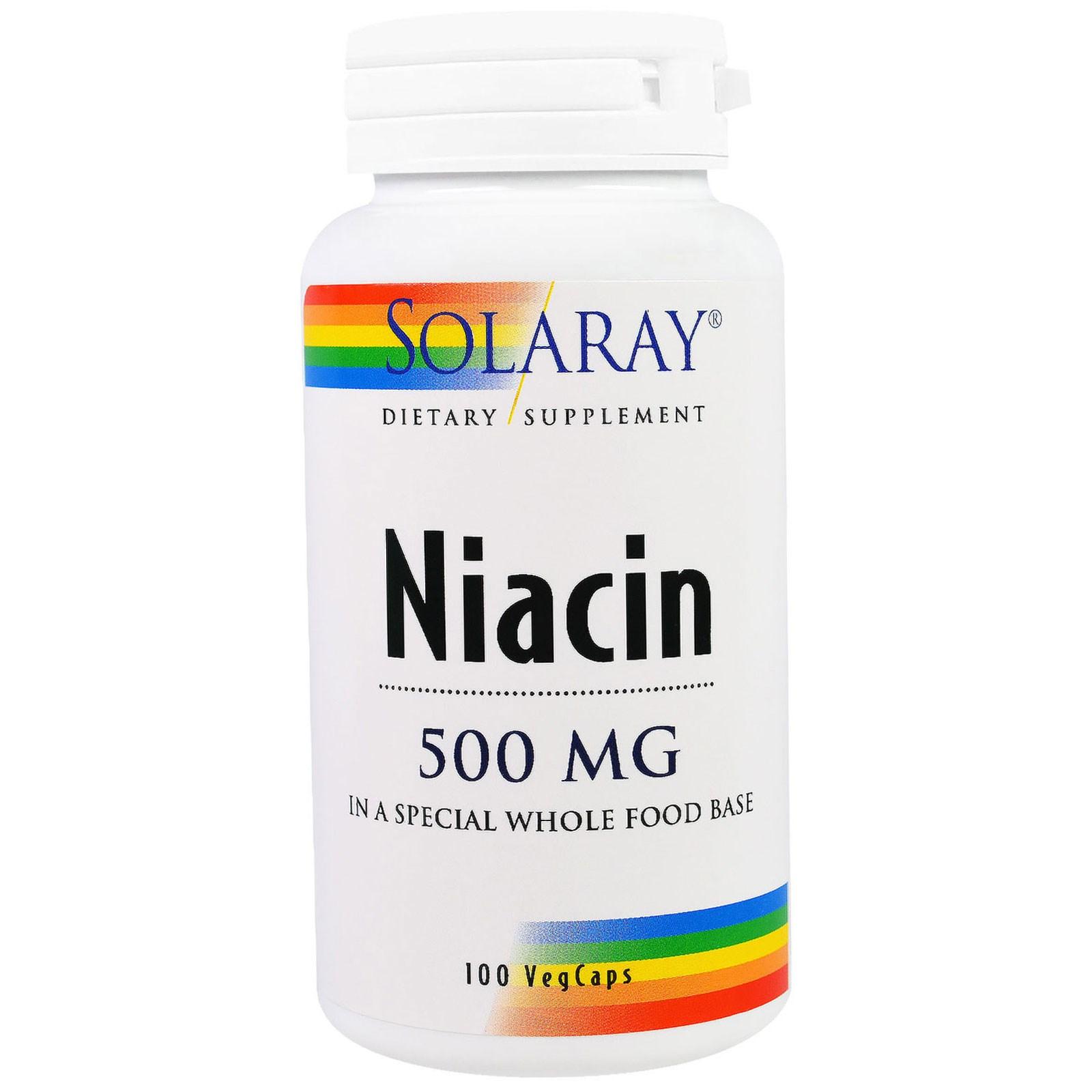 Solaray, Ниацин, 500 мг, 100 растительных капсул