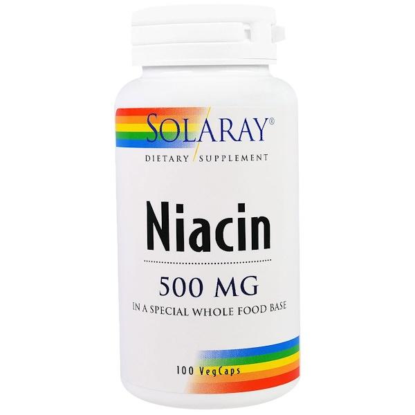 Solaray, ナイアシン, 500 mg, ベジキャップ100錠